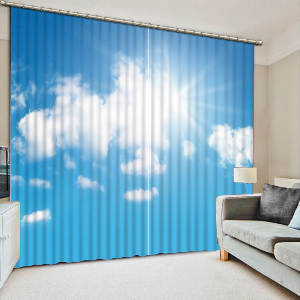 blue curtains indow Blackout Luxury 3D Curtains set For Bed room Living room Office Hotel Home Wall Decorative sky curtain