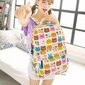 DLKLUO Kids Cute Emoji Printing School Bags Children Canvas Backpacks For Teenager Girls Casual Women Laptop Mochila Feminina