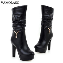 VAMOLASC New Women Autumn Winter Warm Leather Mid Calf Boots Crystal Square High Heel Boots Platform Women Shoes Plus Size 34-43