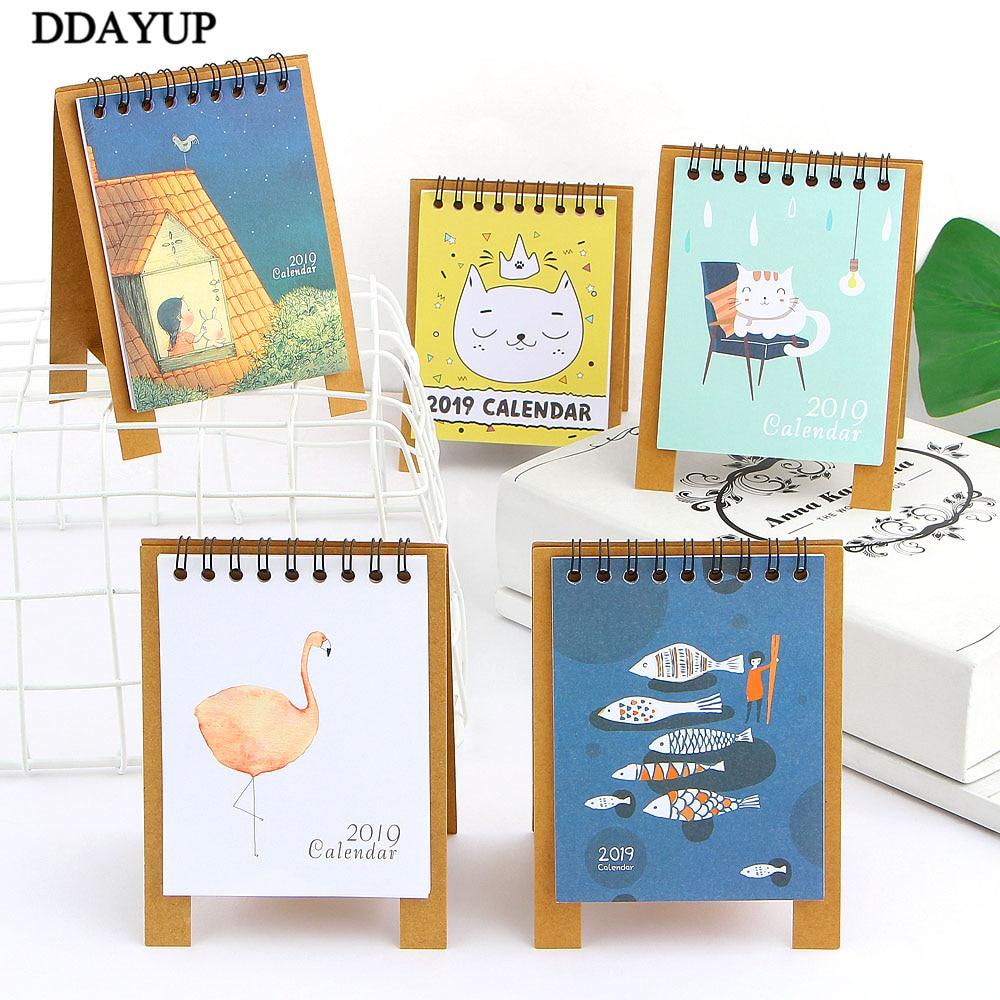 2019 New Cute Cartoon Calendar Creative Desk Vertical Paper Multi-function Storage Box Timetable Plan Notebook Calendar