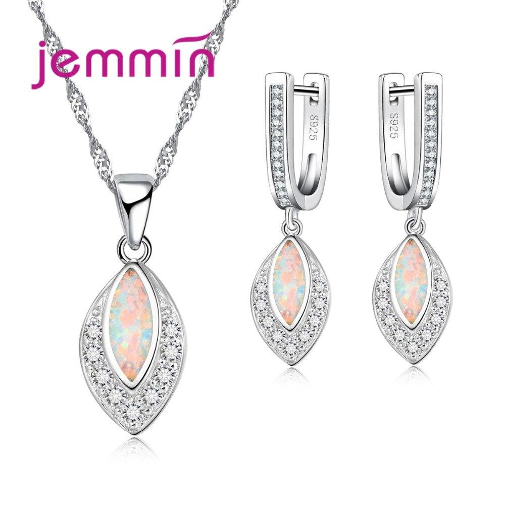 0e73de958c6 Jemmin Mulheres Elegantes Conjuntos de Jóias de Prata Lindo Pingente Folha  Moda Brilhante Colar de Opala