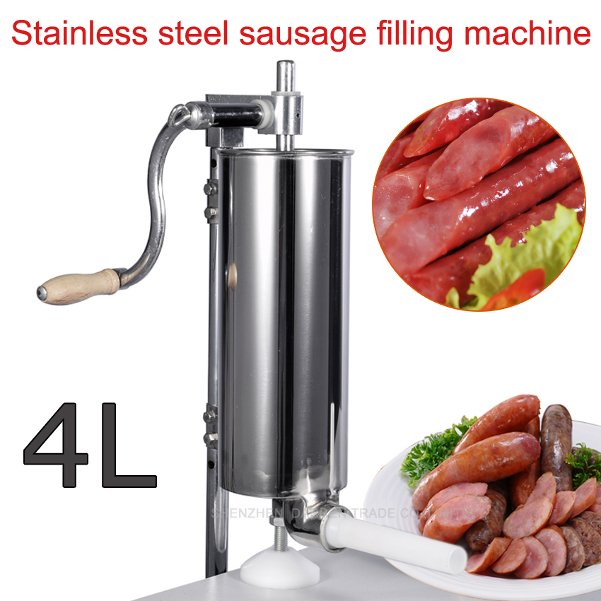 1pc 4L Stainless steel Commercial Household Manual Vertical Sausage Filler Machine with 1.3,1.9,2.2 CM plastic pipe economic s steel manual s series sausage filler for hotel butcher home use and hunters