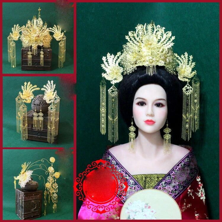 A236 Big Golden Phoenix Hair Tiara Long Tassel Ancient Chinese Princess Empress Wedding Tiara TV Play or Photography Use