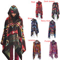 Venda quente Da Moda das Mulheres de Lã Mistura Com Capuz Cobertor Manto Poncho Cabo Brasão Outwear Xaile Cloaks H9