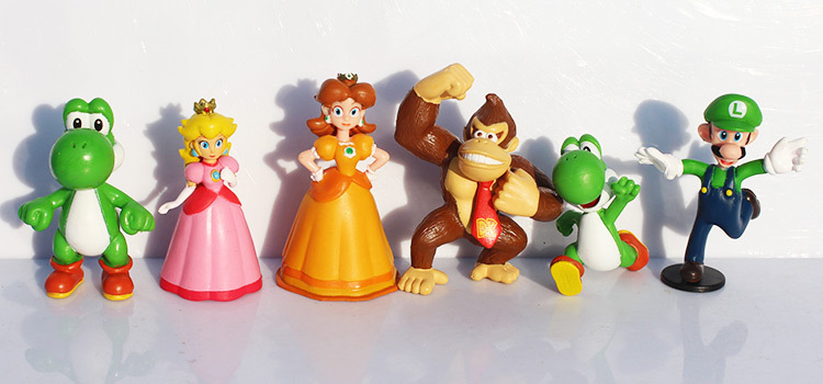 18pcs/set Super Mario Bros yoshi dinosaur Peach toad Goomba PVC Action Figures toy Free Shipping 1