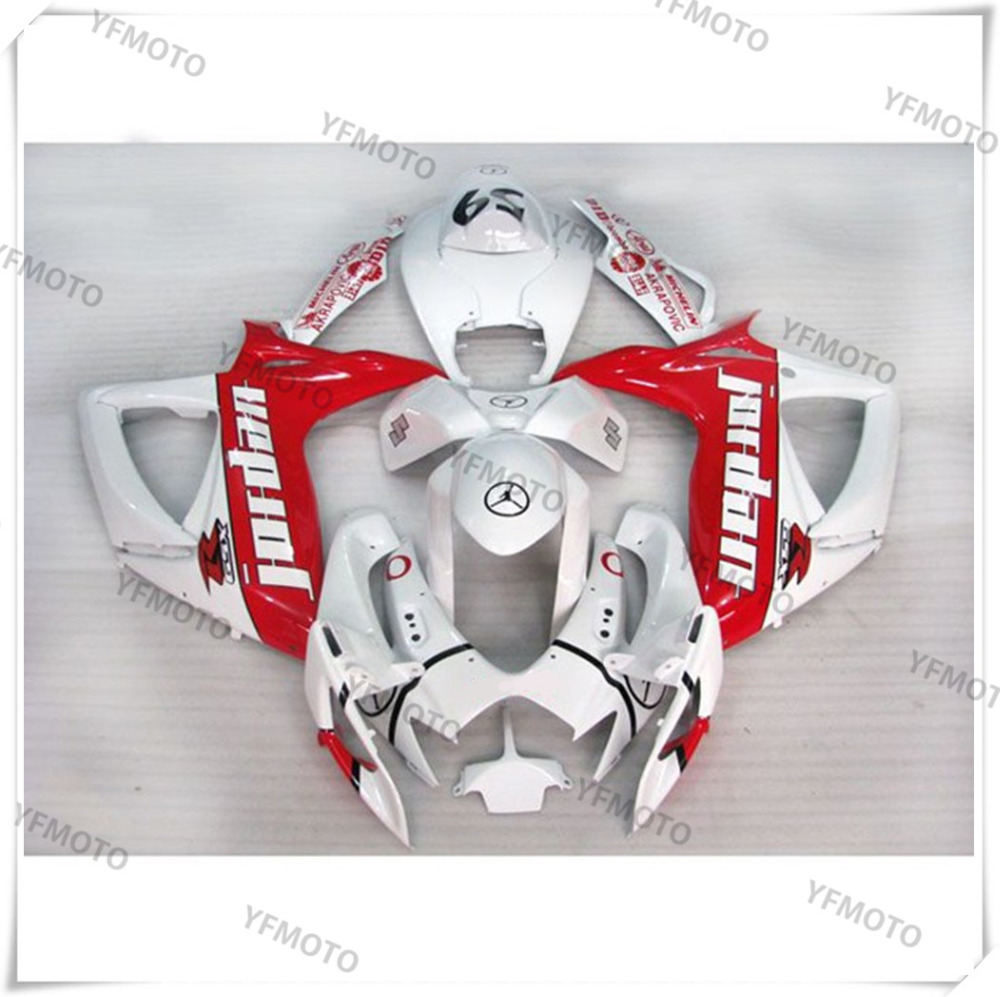 Motorcycle ABS White+Red Fairing Body Work  Cowling For SUZUKI GSXR600-750 GSXR 600 750 K6 2006-2007 +4 Gift new motorcycle ram air intake tube duct for suzuki gsxr600 gsxr750 2006 2007 k6 abs plastic black