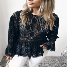 New Mulheres Autumn Summer Long Sleeve Trumpet Lace Oco Out Flor Túnica Blusa Das Senhoras elegante Lace Casual shirts Tops Hot(China)