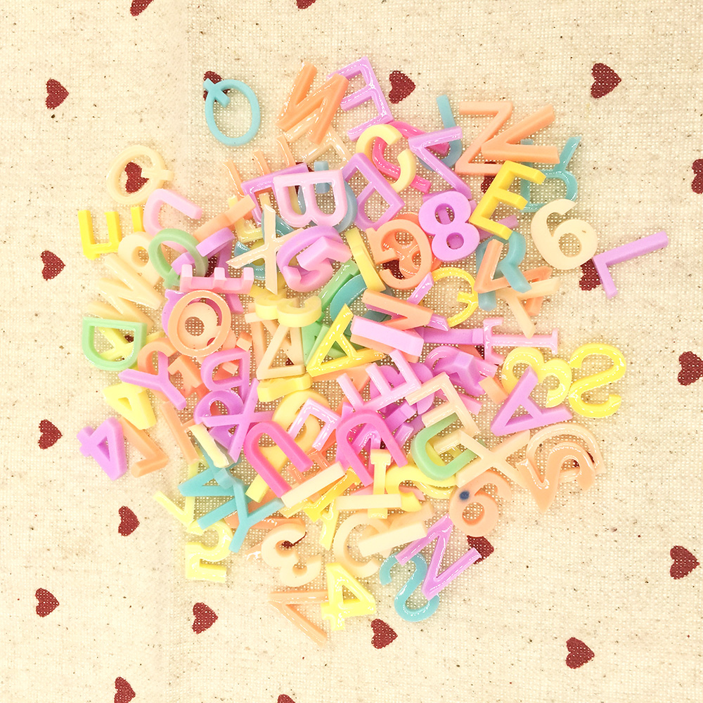 200PCS Mixed Resin Letter Digital Flatback Cabochons Scrapbook Craft Embellishments DIY Phone Hairbow Accessories