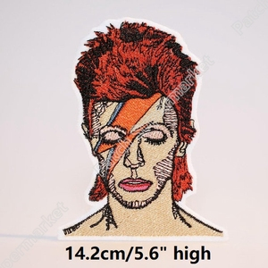 """Image 2 - 5.6 """"David Bowie Lưng Lớn Miếng Dán Cho Quần Jean Áo Khoác Nghệ Sĩ Thêu Sắt Trên Huy Hiệu Nghệ Thuật Tiếng Anh Ca Sĩ Nhạc Sĩ Diễn Viên"""