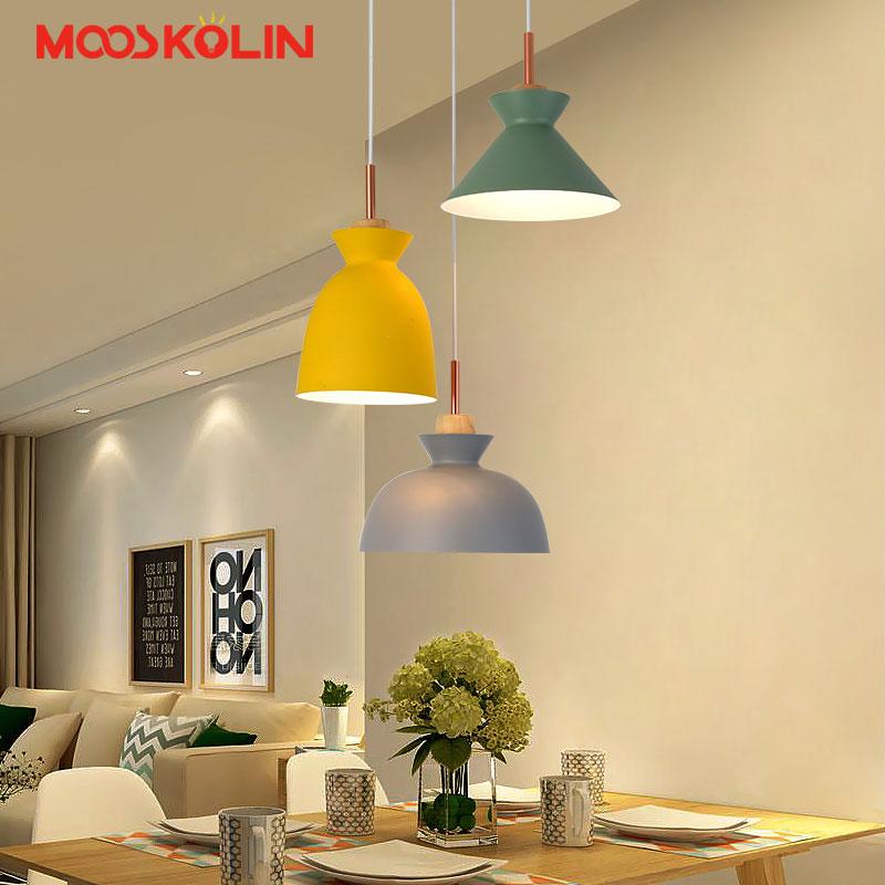 Scandinavian Nordic Modern Pendant Lights Wood and Iron Restaurant Kitchen Bar Coffee Dining Room LED Hanging Light Fixture