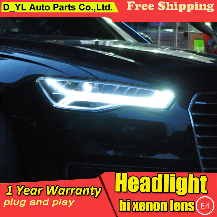 D YL Car Styling for Audi A6L Headlights 2012 2016 A6L LED Headlight DRL Lens Double
