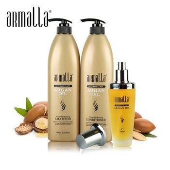 3pcs Armalla Moroccan 1000ml Dry Natural Shampoo and 1000ml Deep Conditioner For Hair+100ml Argan Oil Moisturizing Damage Dry