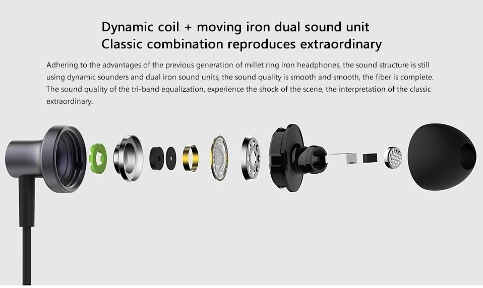 Original Xiaomi Hybrid Pro 2 Earphones Mi In-Ear Earphone 2 Dual Driver  Hybrid Technology Wired Control With Mic