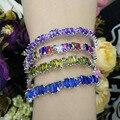 Luxury Fine Jewelry S925 Sterling Silver CZ Bracelet for Women at Wedding Colorful Zircon Bracelet Party Dress Open Bracelet