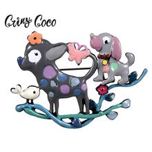 Cring Coco Jewelry Enamel Dogs Pin Brooch for Children Girls Cute Pet Brooches Clothes Coat Badge Fashion Hot Summer