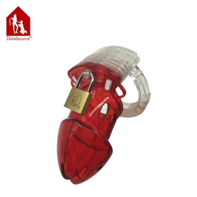 Davidsource ajustável red & cristal de plástico inimigo púbico masculino chastity caralho gaiola bloqueável virgindade bloqueio penis tortura sexo brinquedo