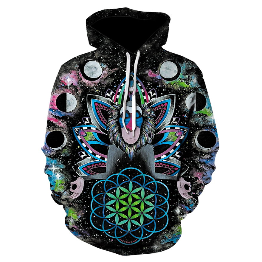 Men&Women Hoodies Couples Casual Style 3D monkey star Print Personality Autumn Winter Sweatshirts Hoody Tracksuits Tops