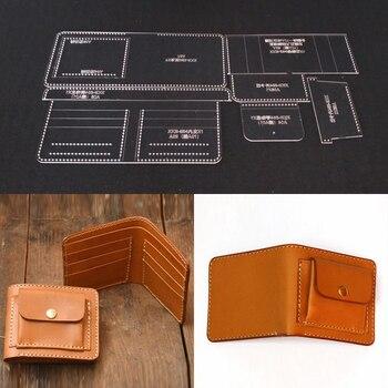 f819dda2b Acrílico Plantilla de corte láser Plantilla de cuero DIY arte hecho a mano  cartera larga costura patrón 110x95x20mm