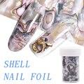 3D 1 рулон 4*120 см Океанский Стиль оболочка Abalone узор для ногтей Фольга s градиентный мраморный дизайн Фольга s дизайн ногтей термопередача фольга - фото