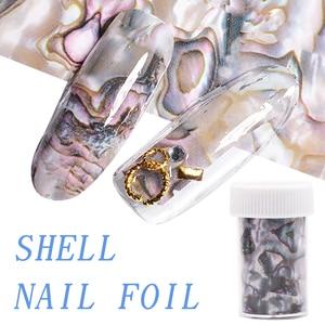 Image 1 - 3D 1 rouleau 4*120CM océan Style coquille Abalone motif ongles feuilles dégradé marbre conception feuilles Nail Art transfert thermique feuille