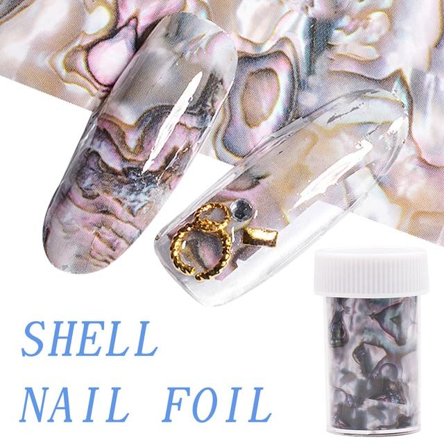 3D 1 rouleau 4*120CM océan Style coquille Abalone motif ongles feuilles dégradé marbre conception feuilles Nail Art transfert thermique feuille