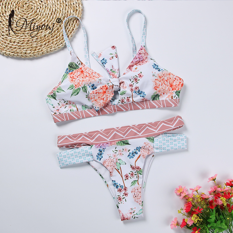 Image 3 - Miyouj Floral Bikini Bandage Bow Swimsuit  Push Up Swimwear Women Print Biquini Feminino 2018 Bathing Suit Monokini Bikini Set-in Bikinis Set from Sports & Entertainment