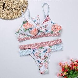 Image 2 - Miyouj maillot de bain maillots de bain femmes imprimé fleuri avec nœuds, soutien gorge Push Up, Bikini, ensemble deux pièces, pour les femmes, collection 2018