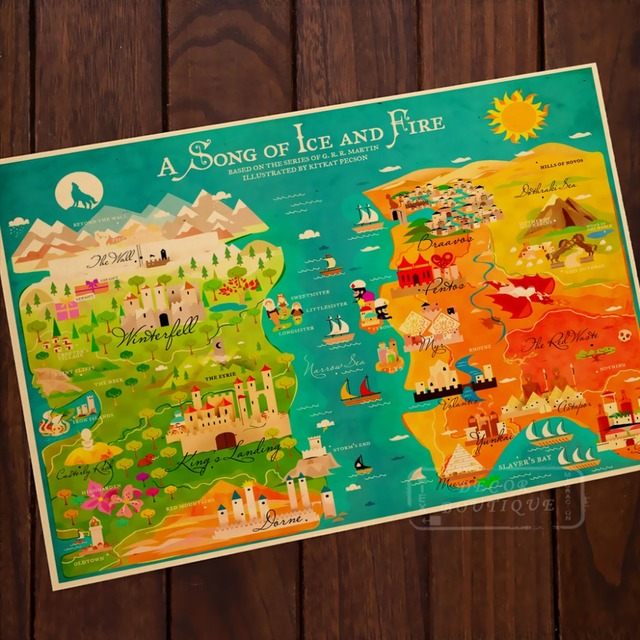 US $3 98 |Cartoon Beauty Epic Map Game of Thrones Comics Vintage Classic  Retro Canvas Frame Poster DIY Wall Posters Home Decor Gift-in Painting &