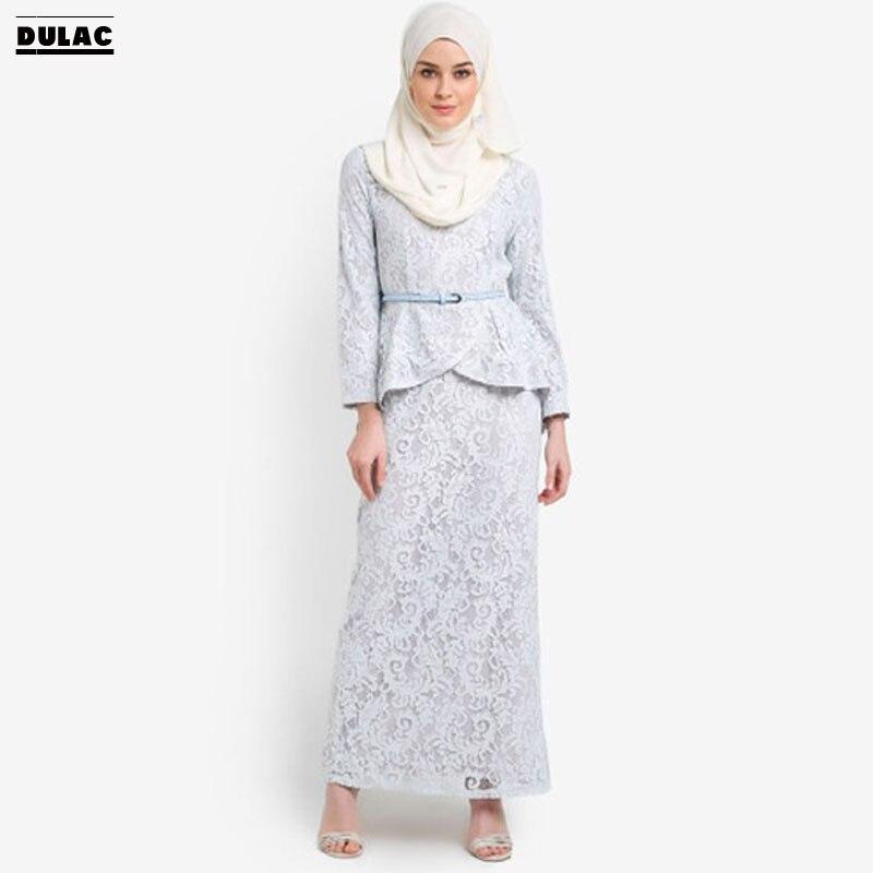 Advanced Customization Wholesale Middle East Women Fashion High Waist Baju  Lace Party Dresses Muslim Baju Kurung Maxi Long Dress f3cbb57a1eb3