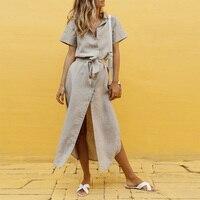 b8e30ff1db73 Summer Bandage Shirt Dress For Women 2019 Solid Short Sleeve High Waist  Split Maxi Dresses Vintage. Dalla Fasciatura di estate del Vestito Della ...