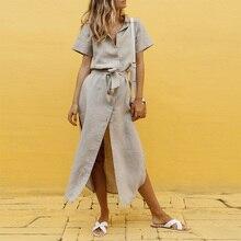 Summer Bandage Shirt Dress for Women 2019 Solid Short Sleeve High Waist Split Maxi Dresses Vintage Button Vestidos Robe Femme