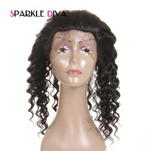 [SPARKLE DIVA HAIR ] 22*4*2 Loose Wave Pre Plucked 360 Lace Frontal With Baby Hair Natural Color 10″-20″ Remy Human Hair Closure