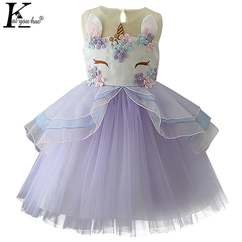Girls Dress Wedding Princess Kids Dresses For Girls Clothes Summer Children Unicorn Party Dress Vestido 2 3 4 5 6 7 8 9 10 Years kids dresses clothes summer 2017 girl dress princess dress girls children clothing floral print toddler dress 5 6 7 8 9 10 years