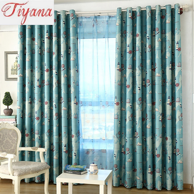 Mediterranean Style Blue And Rose Red Nautical Era Pattern Design Curtains For Living Room Home Window