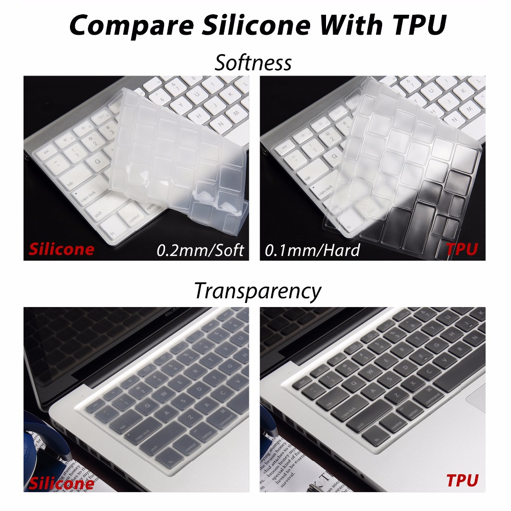 """Silicone Thin Clear KeyBoard Cover Guard For MacBook Air Pro//Retina 11//12//13//15/"""""""