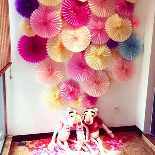 Decorative crafts 30cm 10pcs flower origami paper fan for Home decorations for birthday