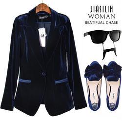 Модные бархатные Тонкий Блейзер для женщин одна кнопка костюм осень 2018 г. новое поступление 2 цвета плюс размеры