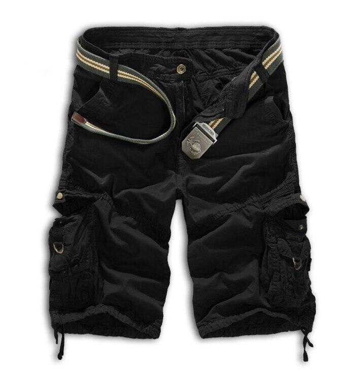 Мужские хлопковые шорты, новинка, мужские модные камуфляжные шорты Карго размера плюс, повседневные камуфляжные шорты с несколькими карманами в стиле милитари - Цвет: Черный