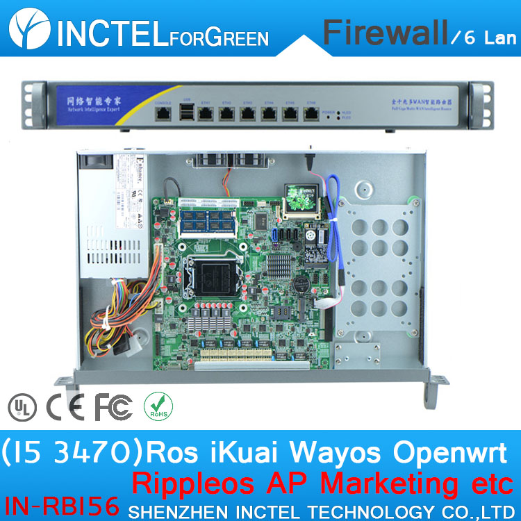 I5 3470 CPU 1000M 6 82574L 2 Groups Bypass 6 Gigabit Lan Firewall with Radius_Manager, ROS, Panabit, PFSense Software