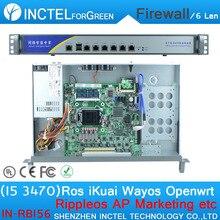 I5 3470 CPU 1000M 6 82574L 2 Groups Bypass 6 Gigabit Lan Firewall with Radius