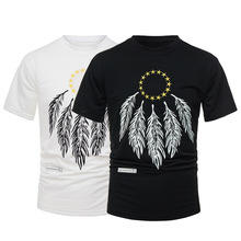 High Quality Summer Casual O-neck Print Mens Tshirt  Pentagram Feather  Stranger Things Slim Short Sleeve Tee Tops T Shirt Men