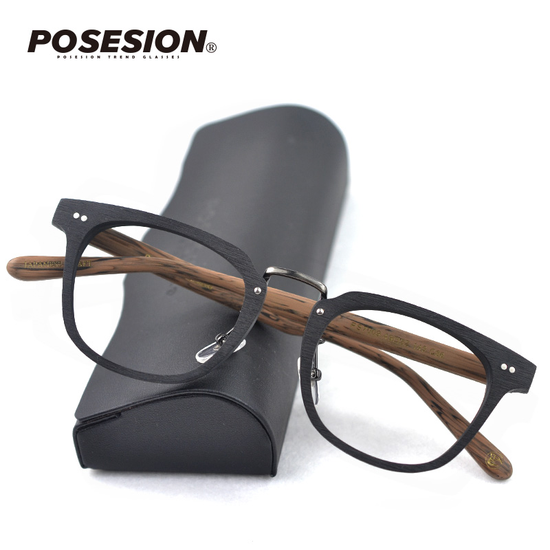 Posesion Vintage Wood Glasses Frame Clear Lens Women Men Optical Prescription Myopia Hyperopia Eyeglasses Wooden Full Frames