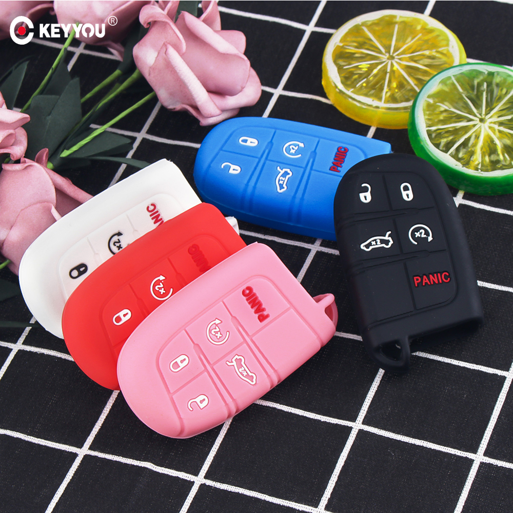 KEYYOU Silicone Car Key Case Cover For Jeep Grand Cherokee Dodge JCUV Dart Journey Chrysler 300C Fiat 5 Button Remote Fob Rubber