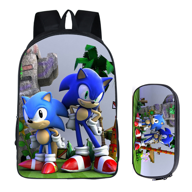 16 Inch Mario Bros Sonic The Hedgehog School Bag For Kids Boy Backpack Children School Sets Pencil Bag Toddler Schoolbag