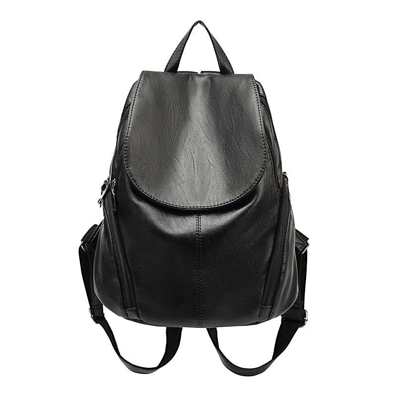 Mochila feminina de couro genuíno mochilas saco escola listra multifuncional couro volta pacote no ombro feminino novo c626
