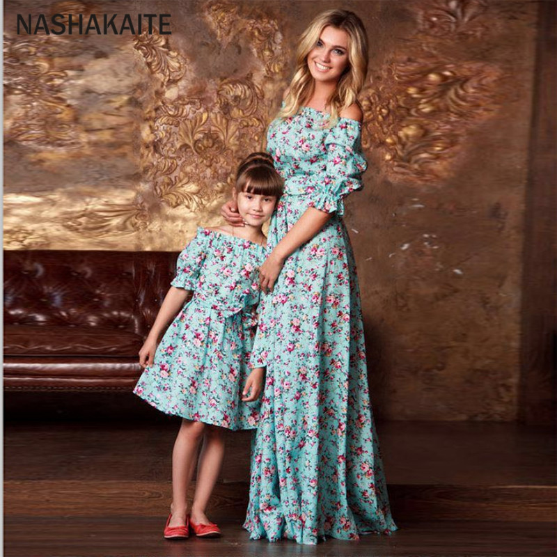 Mother Daughter Dresses Ruffled Half Floral Long Dress With Blet Vestido Mae E Filha Mother And Daughter Clothes Family Look
