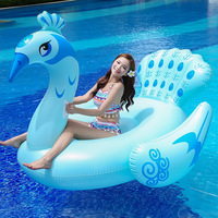 3 Colors Peacock Inflatable Pool Float 190cm Giant Swim Toys For Women Men Water Plaything Huge Adult Lounger Air Mattress Blue