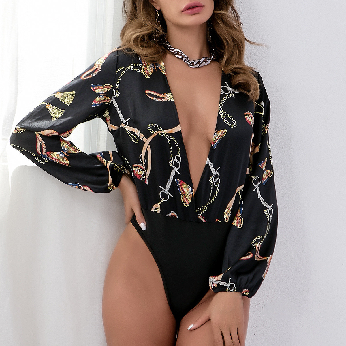 Bodysuits Disciplined Black Body Mujer Women Bodysuit Sexy Flower Butterfly Print Long Sleeve Jumpsuit Deep V Neck Plunge Sheath Romper Wp5796j