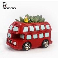 Roogo Creativo Della Resina Dell'annata Red Double-Decker Bus Fioriera Vaso di Fiori Da Giardino Vasi di Piante Succulente Bonsai Scrivania Auto Vaso di Fiori