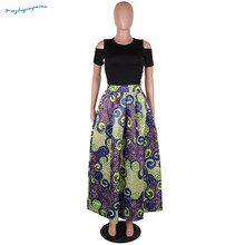 Kadın sonbahar sarı ve mor baskı, yuvarlak yaka kısa kollu çıplak omuz popüler xxxxxxL büyük üst ve alt takım elbise dre